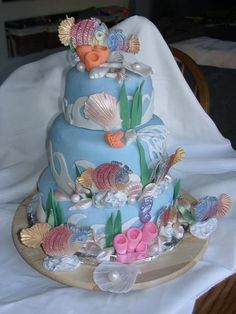 Beyond the Sea birthday cake ... all decorations are made with fondant.. hand molded and shaped..