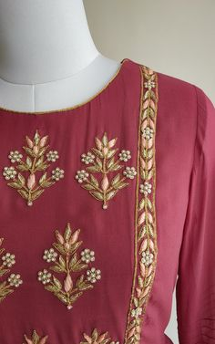 Burgundy Pearl Motif Handwork Tunic Fine cutdana and dabka hand work in golden A-line overlapping pattern Zardosi Embroidery, Embroidery Suits Punjabi, Embroidery On Kurtis, Hand Embroidery Dress, Kurti Embroidery Design, Embroidery Neck Designs, Hand Embroidery Videos, Embroidery On Clothes, Embroidery Fashion
