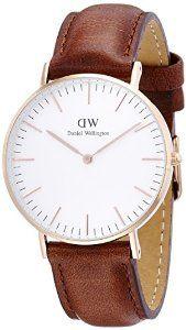 Daniel Wellington - 0507DW - St Mawes - Montre Mixte - Quartz Analogique - Cadran Rose - Bracelet Cuir Marron