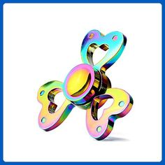 Rainbow Triple Heart Metal Fidget Spinner Toy Stress Relief High Speed Hand Spinner by EZ Tech Easy Simple Smart Rainbow Fidget Spinner, Cool Fidget Spinners, Metal Fidget Spinner, Sensory Toys For Autism, Fidget Gadget, Fidget Pen, Tangle Toy, Fiddle Toys, Toys