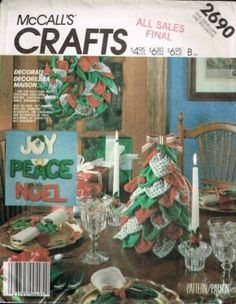 2690 Sewing Pattern McCall's Christmas Decorations Tree Words Wreath Angel