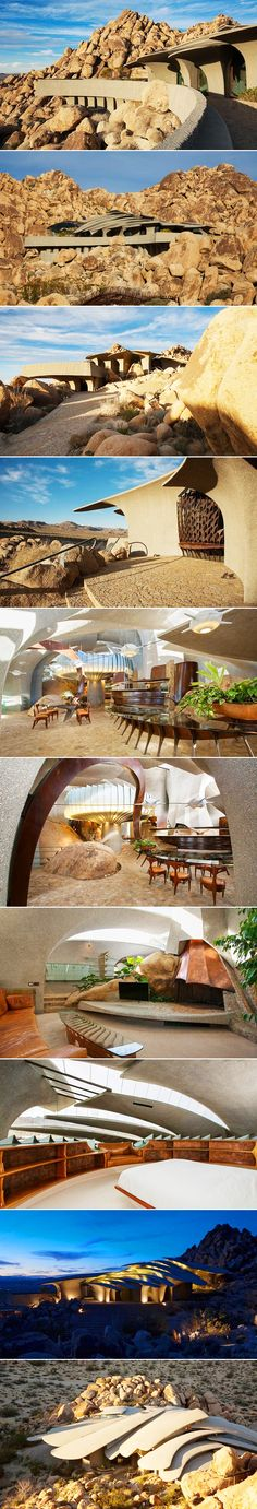 California's Mojave Desert hides an undiscovered architectural gem-a luxurious stone house that looks like it was made for a fashionable Bond villain. Organic architect Kendrick Bangs Kellogg (79) designed the house in Joshua Tree for a couple, artist Bev Doolittle and her husband Jay Doolittle, who are now selling it for $3 million.
