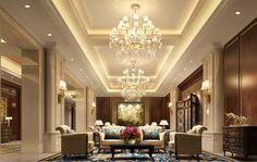Gypsum Ceiling Design, House Ceiling Design, Ceiling Design Living Room, Ceiling Decor, Living Room Designs, Villa Interior, Hall Interior Design, Interior Decorating, Style Villa