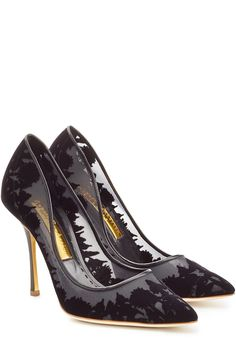 RUPERT SANDERSON Suede, Leather and Mesh Pumps