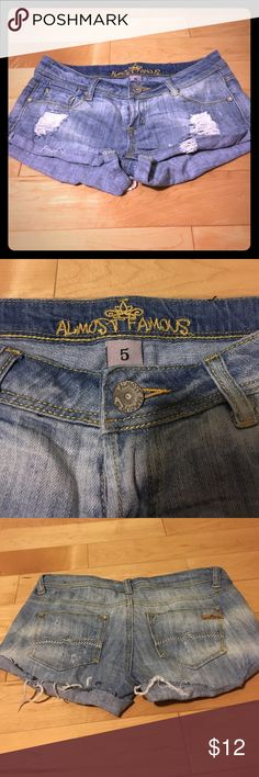 Ripped jean shorts Ripped style Jean short shorts. Size 5. Great condition. Almost Famous Shorts Jean Shorts