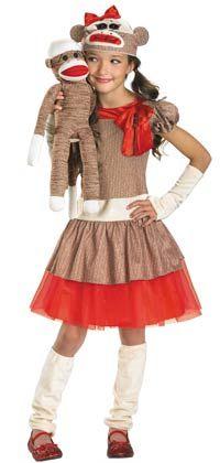 sock monkeys halloween costumes | Girl Sock Monkey Costume