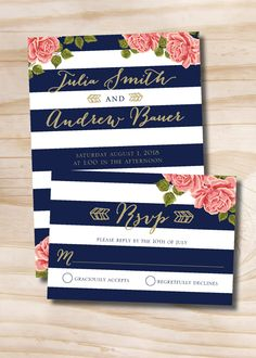 Gold Glitter Floral Stripe Navy and Gold Wedding Invitation and  Response Card - 100 Professionally Printed Invitations & Response Cards by PaperHeartCompany on Etsy https://www.etsy.com/listing/248202458/gold-glitter-floral-stripe-navy-and-gold