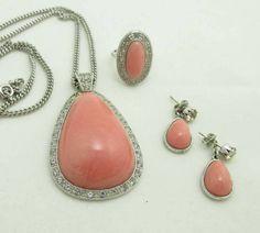 Avon Necklace Earrings Ring Set Pierced Silver by JellyBellyJewels