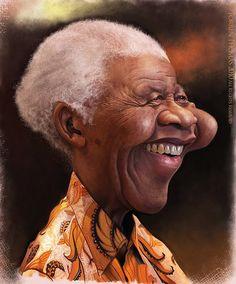 Caricatura de Nelson Mandela.