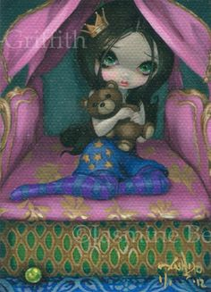 Princess  Pea ACEO J... Princess And The Pea, Jasmine, Fairy Tales, Detail, Artwork, Books, Movies, Fictional Characters, Work Of Art