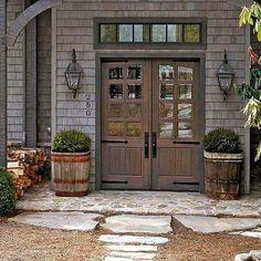 35 Gorgeous Farmhouse Front Door Entrance Design Ideas To Apply Asap - rustic farmhouse front door Café Exterior, Design Exterior, Exterior House Colors, Exterior Paint, Rustic Exterior, Double Doors Exterior, Double Front Doors, Wood French Doors Exterior, Farmhouse Exterior Colors