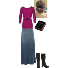 """Modest Outfit 132"" by christianmodesty on Polyvore MY FAVORITE PART ABOUT THIS OUTFIT IS THE BIBLE.. if its KJV av1611 of course!"