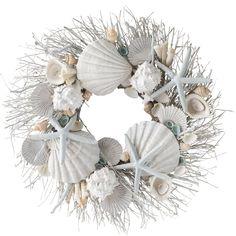 Coastal Wreath, Coastal Christmas Decor, Seashell Wreath, Nautical Wreath, Seashell Art, Seashell Crafts, Beach Christmas, Seashell Decorations, Seashell Bouquet