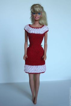 Одежда для кукол ручной работы. Заказать платье с бисером. Барбариска. Ярмарка Мастеров. Подарок на день рождения, вязаная одежда