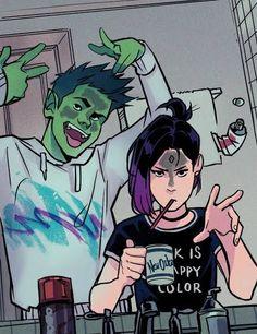 Teen Titans Love, Original Teen Titans, Teen Titans Fanart, Beast Boy Raven, Gabriel Picolo, Hiro Big Hero 6, Dc Comics Art, Marvel Comics, Cartoon Art