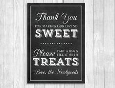 Printable 5x7 Black and White Chalkboard Wedding Candy Buffet Sign by WeddingsBySusan