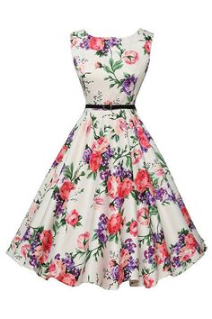 The Atomic Jane 1950's Floral Print Rockabilly Dress is a sleeveless design with a Vintage inspired Peony floral print, a modest bateau neckline, hidden back zipper closure and a removable black belt.  https://atomicjaneclothing.com/products/atomic-jane-1950s-floral-print-rockabilly-dress