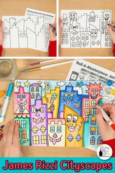 Looking for a fun James Rizzi buildings art lesson? Here's a fun art game to design a James Rizzi cityscape. Great for last minute art sub plans, too! James Rizzi, Art Sub Plans, School Coloring Pages, Fall Art Projects, Arts Integration, Cityscape Art, Building Art, Art Lessons Elementary, Easy Art Lessons