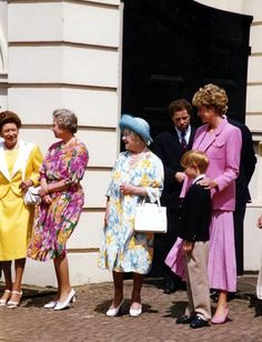 August 4, 1992: Princess Diana with Prince Harry and the Royal family at Clarence House to celebrate the Queen Mother's 92nd birthday.