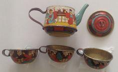 "Antique 1920s German tin-litho toy tea set ""Geishas Dancing"""