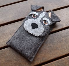 Mobile Phone Case with shape of a gray Schnauzer dog breed made and designed entirely by hand. It is a unique design that impresses everyone who sees it.   Items are made to order, if you want...