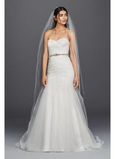 Strapless Ruched Mermaid Tulle Wedding Dress WG3791