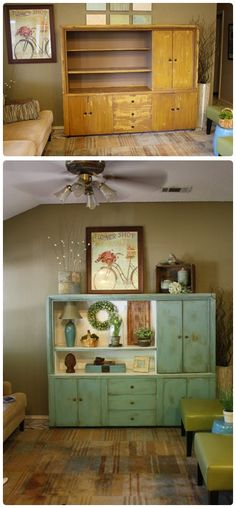 Painted Cabinet Transformation : DIY and Craft Tutorials.  love the look of this cabinet