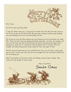 Printable Letters from Santa! Old-Fashioned Santa on Sleigh www.easyfreesantaletter.com