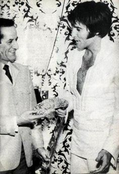 Elvis with Hotel president, Alex Shoofey - International Hotel, Vegas 1969