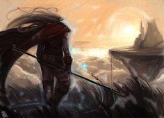 Teste com pincel de pintura e estilo de preenchimento de cor.  Pintura do personagem Magus do jogo Chrono Trigger.