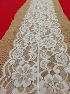 """Vintage Antique Lace, Lace Table Runner. Natural Burlap.  12""""x108"""".  Fall, Winter, Thanksgiving, Christmas,Country or Rustic Decor. $12.00, via Etsy."""