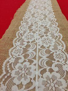 Reserved Listing for Megan Milligan Sample Vintage Antique Lace, Lace Table Runner. Natural Burlap.