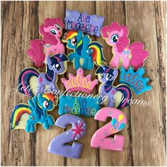 More My Little Pony #mylittlepony #mlp #mylitttleponycookies #pinkiepie #pinkiepiecookies #twilightsparkle #twilightsparklecookies #rainbowdash #rainbowdashcookies #cookies #cookieart #customcookies #customdecoratedcookies #decoratedcookies #decoratedsugarcookies #edibleart #royalicing #sugarcookies #dmv #dmvnetwork #vabch #vabeach #virginiabeach #letisconfectionerydreams #lcd #757gt My Little Pony Birthday Party, Girl Birthday Themes, Birthday Love, 4th Birthday Parties, Unicorn Birthday, Princess Birthday, Birthday Presents For Mom, Birthday Gifts For Boyfriend, Cumple My Little Pony