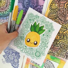 Doodle Art Drawing, Mandala Drawing, Cool Art Drawings, Pencil Art Drawings, Kawaii Drawings, Colorful Drawings, Art Drawings Sketches, Sharpie Drawings, Sharpie Art