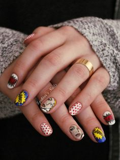 Roy Lichtenstein Pop Art Nails by Spektors Nails using MoYou London stamping plates.