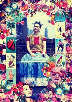 homage to Freda Kahlo Mexican Artwork, Kahlo Paintings, Fabric Photography, Frida Art, Chicano Art, Art Plastique, Collage Art, New Art, Folk Art