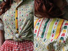 Handmade button-up shirt using windmill print fabric and the Archer sewing pattern by Grainline Studio.