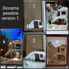 Diorama pesebre. Versión 1. Base icopor. Figuras de 4 cm. Caja en madera de 21 cm x 30 cm. Diorama, Paper, Nativity Sets, Crates, Wood, Manualidades, Christmas Diy, Dioramas