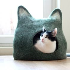 Cat bed - cat cave - cat house - eco-friendly handmade felted wool cat bed - green with natural white - made to order -- This is just...yeah...