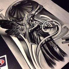 Amazing artist David Reveles @tattoospooky_d angel artwork view 2! #sketch…