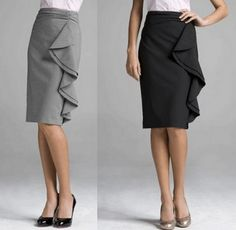 pencil skirts with circle-based flounces