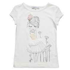 Girls Ivory T-Shirt with Girl & Flowers | Childrensalon