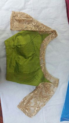 Gold # green # silk # rawsilk # padded # transparent # blouse # saree # fashion # latest