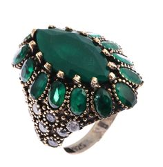 Sterling Silver Ring ,Silver Ring ,Zerbap ZB10163 Ring with Emerald and Zircon Gems by Rosestyle on Etsy