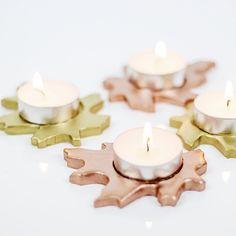 DIY Metallic Leaf Tealight Candle Holders