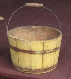 Early painted berry bucket in old mustard-yellow paint. Primitive Furniture, Primitive Antiques, Country Primitive, Mustard Yellow Paints, Mellow Yellow, Metal Buckets, Arte Country, Water Bucket, Wall Boxes