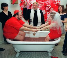 Or this wedding, officiated in a bathtub full of hot chocolate.