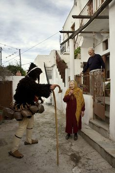 Dionysian goat dance festival of carnival.Processions of masked characters… Greek Dancing, Greek Traditional Dress, Zorba The Greek, In Ancient Times, Ancient Greek, Go Greek, Skiathos, Stunning View, Beautiful