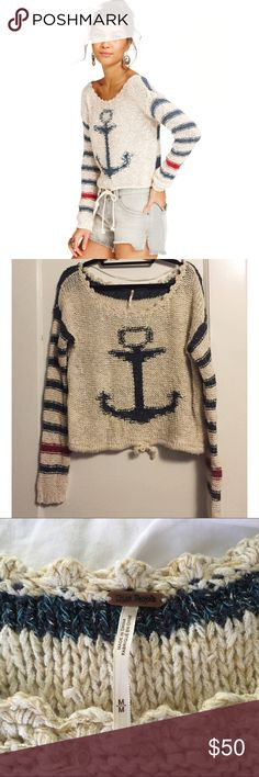 Free People Anchor Sweater RARE This is a Free People Anchor sweater with a drawstring tie. This is a really rare sweater that is hard to come by. Worn once and in excellent condition. Super cute boho style. Purchased for $129 + tax. Free People Sweaters