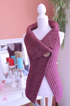 20 Gorgeous Free Crochet Cardigan Patterns for Women: Sleeveless Cardigan Button Wrap Free Crochet Pattern